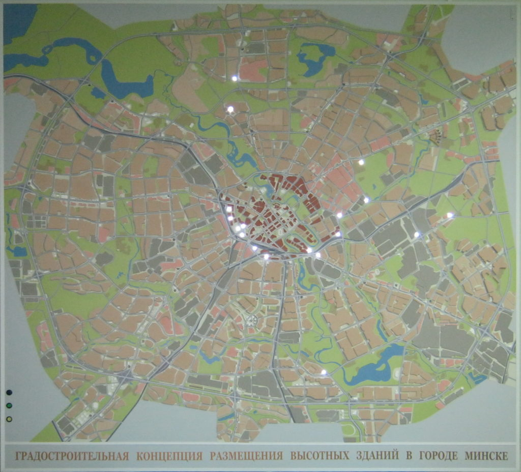 The map of the city of Minsk
