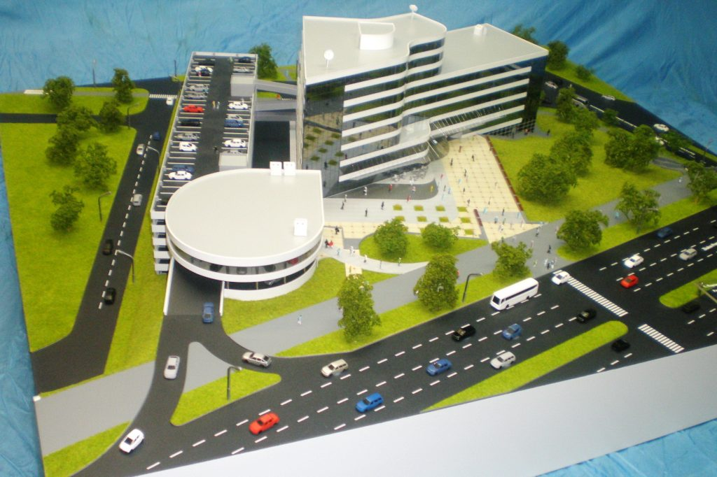 Model of a shopping center with parking
